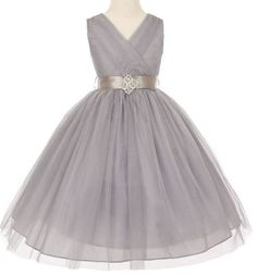 AkiDress V-Neck T-Length Dress with Rhinestone Broach for Little Girls Gray 14