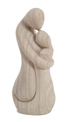 abstract sculpture | tall natural stone abstract sculpture of a mother and child, with ...