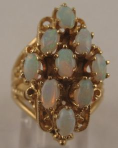 BIG Estate Australian Fire Opal Cluster 14K Yellow Gold Cocktail Ring