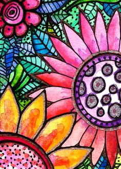 Flower art Fleurs  flowers art print  art por RobinMeadDesigns