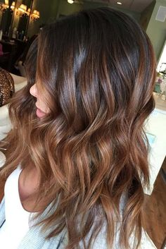 Balayage Hair Color Ideas in Brown to Caramel Tones. Are you looking for hair color highlights and lowlights for brunettes blonde caramel? See our collection full of hair color highlights and lowlights for brunettes blonde caramel and get inspired!