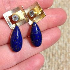 14K LAPIS EARRINGS Blue Topaz Sterling Silver 925 Stone Vintage Jewelry Gold Yellow Stamped Navajo Southwestern Boho Modernist Gift Cabochon on Etsy, $63.00