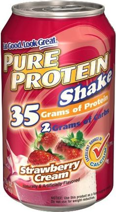 Pure Protein Ready to Drink Shake 35 Grams Protein, Strawberry Creme (Pack of 12) by Pure Protein, http://www.amazon.com/dp/B002XULCAM/ref=cm_sw_r_pi_dp_Kirsrb0JFVNSS
