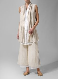 Linen Double Layers Long Vest Beige/Coffee