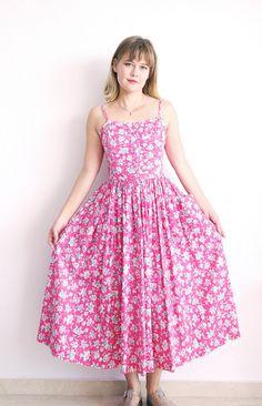 Laura Ashley Dress Vintage Tea Dress Pink Cotton by MjauVintage