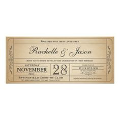Custom Vintage Wedding Ticket Invitation created by Trifecta_Designs. This invitation design is available on many paper types and is completely custom printed. Invitation Ticket, Invitation Design, Invitation Cards, Invitation Ideas, Invitation Templates, Monogram Wedding Invitations, Photo Wedding Invitations, Zazzle Invitations, Customized Invitations
