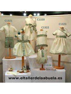 trajes de arras en seda de la colección verde agua de El Taller de la Abuela