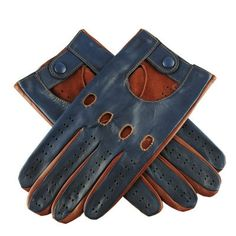 Glamour driving gloves for men.  Navy and Tobacco Two-Tone Italian Leather Driving Gloves.    Classic mens driving gloves made with fine lamb nappa Italian leather which makes them extremely soft and an ideal leather for driving gloves. These driving gloves fit close to the hands offering better grip whilst protecting the hands. Driving gloves are a great way of providing extra grip whilst driving and also effective in reducing vibration.      Size relates to the circumference around the…