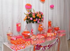 16 IS SWEET: Caitlyn's Glam Party | JPC Event Group candy display   Florals by GARNISH Event Design