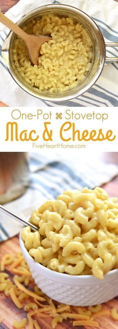 Homemade One-Pot Stovetop Macaroni and Cheese ~ creamy and made from scratch, this mac & cheese is as easy as one pot, a handful of ingredients, and ten minutes on the stove! | FiveHeartHome.com