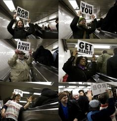 watch th video...very cool fun project that will make you smile. http://improveverywhere.com/2009/02/09/high-five-escalator/