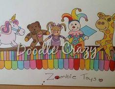 Toys Drawing Etsy 54+ Trendy Ideas #drawing #toys Diy Toy Box, Diy Toy Storage, Diy Box, Cartoon Art, Zombie Cartoon, Toy Story Crafts, Rabbit Toys, Toy Rooms, Toy Organization