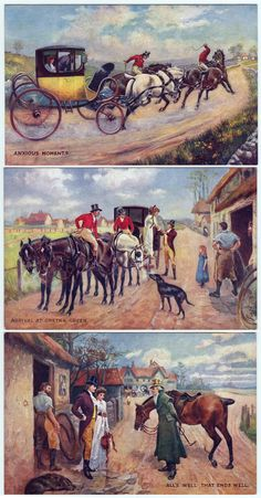 Scenes from the marriage of Gretna Green, three postcard Oilette by Raphael Tuck, beginning in 1903