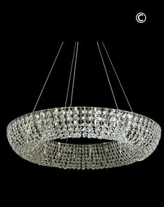 Platinum Ring Chandelier 80cm Version - Contemporary Crystal Lighting Design - Designer Chandelier Australia 1300 890 225