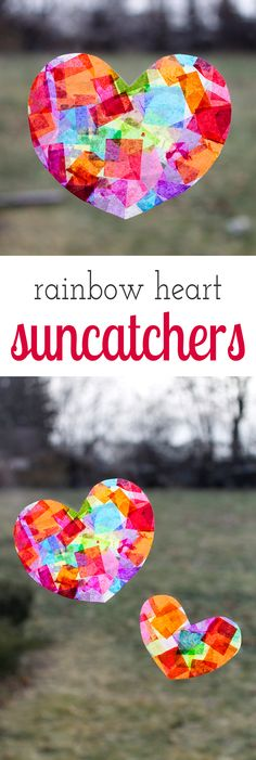 Crafters of all ages will enjoy learning how to make gorgeous Rainbow Heart Suncatchers with tissue paper and glue, perfect for Valentine's Day!  via @https://www.pinterest.com/fireflymudpie/