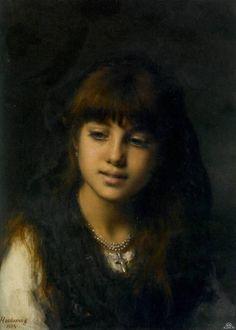 「少女の肖像」1884年アレクセイ・ハラモフAlexei Alexeivich Harlamoff, Portrait of a young girl