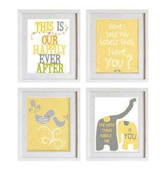 Housewares wall decor gray white yellow emotional love art prints anniversary gift, children room  decor, baby nursery art, love sentiments. $39.00, via Etsy.