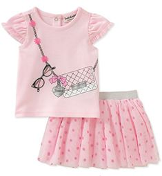 Juicy Couture Girls' Tee With Purse Appliqe And Tutu Skirt Set Newborn Girl Outfits, Little Girl Outfits, Cute Outfits For Kids, Fashion Kids, Juicy Couture Baby, Girl Sleeves, Baby Kids Clothes, Outfit Sets, Infant Toddler
