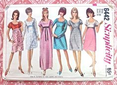 Simplicity 6442  Vintage 1960s Womens Dress Pattern by Fragolina, $5.00