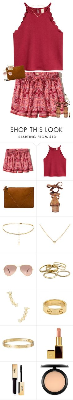 """""""we're all just a kid from somewhere."""" by maggie-prep ❤ liked on Polyvore featuring Hollister Co., Clare V., Steve Madden, Ray-Ban, Kendra Scott, Cartier, Tom Ford and MAC Cosmetics"""