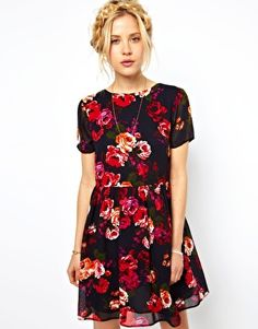 Image 1 ofASOS Skater Dress in Vintage Floral with Tie Back  -  this print reminds me of Beauty and the Beast, from the Shirley Temple Story Book