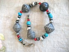 Ethnic African beads with turquoise Necklace by jeweledhorizons