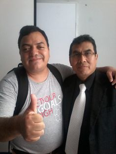 Freddie Armando Romero y el periodista y profesor Alfredo Huamaní Granados. (2015)