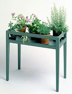 Plant stand. No tutorial since this is for sale but it would make a good DIY project.