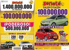 Este domingo ¡Un número te puede cambiar todo!  SALEN O SALEN  Gs. 100.000.000 con el #Progresivo  1 hermoso automóvil Toyota Etios  1 hermoso automóvil Kia Picanto  100 vales escolares de Gs. 300.000 C/U  Y EN LOS POZOS: El #Poderoso con Gs. 500.000.000 y en la #DobleChance Gs. 200.000.000 + una hermosa Renault Duster Oroch y un potente Audi A3  ¡No te quedes sin tu cartón! ¡Pedí #Seneté!