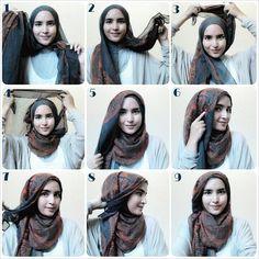 kumpulan gambar tutorial hijab segi empat sederhana terbaru simpel - my ely Islamic Fashion, Muslim Fashion, Hijab Fashion, Style Fashion, Simple Hijab Tutorial, Hijab Style Tutorial, Scarf Tutorial, How To Wear Hijab, Hijab Stile