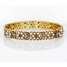 Vintage Emerald and Seed Pearl Bangle