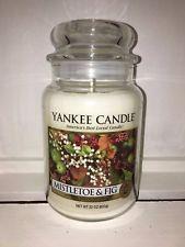 Yankee Candle 22oz 623g Large Jar Mistletoe & Fig Deerfield RARE HTF White Label Best Candles, Mistletoe, Fig, Image, Ficus, Figs