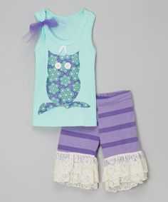 Look at this Blue Owl Tank & Ruffle Shorts - Infant, Toddler & Girls on #zulily today!