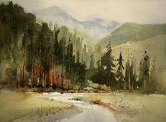Watercolor Artwork, Watercolor Landscape, Landscape Art, Landscape Paintings, John Lovett, Mixed Media Artists, Gouache, Creative Art, Watercolors