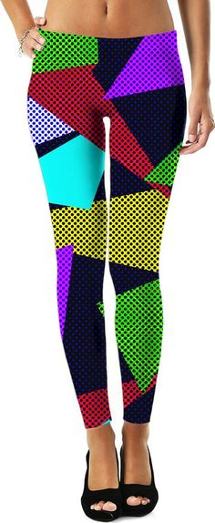 19286280c9a2 Crazy disco pattern womens leggings, asymetric dotted triangles theme, 80s  style girls clothing.