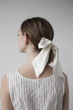 Silk Hair Ribbon - Ivory