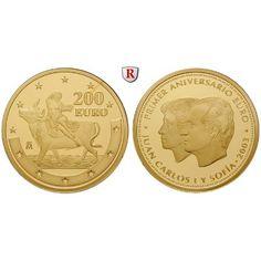 Spanien, Juan Carlos I., 200 Euro 2003, 13,5 g fein, PP: Juan Carlos I. 1975-2014. 200 Euro 13,5 g fein, 2003. 1 Jahr Euro. Europa… #coins
