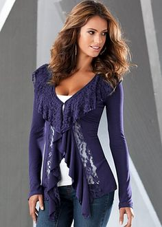 Venus.com   Navy (NV) Lace Detail Knit Cardigan $36 The most feminine way to breeze through the season. ·  Lace trim at neckline   ·  Lace panel and ruffle at front   ·  Hook and eye closure   ·  Imported  ·  Style #Y34740 More Details Orig. $44 SALE $36