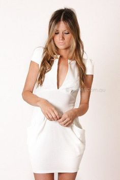pre-order - carrie cocktail dress - white - arrive early september - I probably have too much cleavage for this dress BUT i j'adore it,: