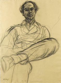 internatural:  R.B. Kitaj (1932-2007), Portrait of Philip Roth. Charcoal on handmade paper.  Source: masterart http://
