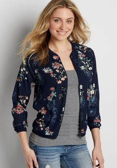 2666a5c2ead chiffon bomber jacket in navy blue floral print (original price
