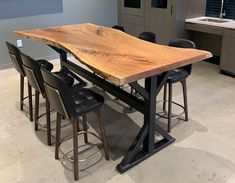 Welcome to Wilson Live Edge Furniture Live Edge Furniture, Metal Furniture, Furniture Making, Furniture Design, Slab Table, Counter Height Dining Table, Oak Dining Table, Live Edge Counter, Live Edge Table