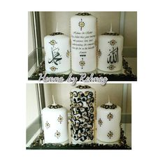 Candle set sent out today. Black/gold design with matching gems. Has been personalised with message. Small candles have Allah & Muhammed (pbuh).30 To order watsapp 07888825212 or message thanks. #hennacandles#mehndifavours#mehndicandles#candle#bespoke#keepsake#weddingcandles#weddingseason#favours#thaal#mehndithaal#gift#presents#bradford#london#mehndinight#pakistaniwedding#asian#dholki#cinifaan#muslim#love#shaadi#baraat#walima#mehndi#sparkle#jumbotealights#bradford#manchester by hennabyrehnaz