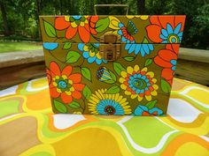 VTG 1960s MOD Retro Flower Power Orange Green Metal File Storage Box Ballonoff