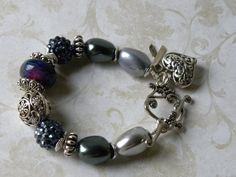 Handmade Beaded Lampwork Bracelet Shell por bdzzledbeadedjewelry