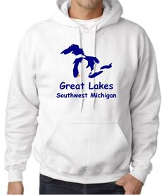 """Unisex Hoodie (Gildan) - Great Lakes Southwest Michigan. Available In-Store & Online. Impress your friends with this awesome Great Lakes Southwest Michigan Hoodie, printed in-store at our Watervliet, Michigan store. (Assembled in USA).Our unique printing process uses special ink and material that is soft, breathable and stretchable for better wash durability. We print and press each shirt order one at a time (no mass production here!), which makes each and every shirt a """"one of a kind"""".We…"""