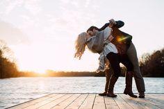 Sunset Engagement Photo Session || Dip || Winter || Sweater || Lake || Dock | Memphis Engagement Photographer || Christen Jones Photography