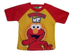"""Sesame Street Little Boys Tickle Me Elmo Graphic T-Shirt http://www.beststreetstyle.com/sesame-street-little-boys-tickle-me-elmo-graphic-t-shirt/ #fashion  Sesame Street Little Boys Tickle Me Elmo Graphic T-Shirt This yellow gold short sleeves graphic tee has """"TICKLE ME"""" and image of Elmo printed on the front, and red sleeves, and red trim neckline. 100% cotton"""