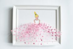 Set of 3 pink Princess in tutu Canvases Hand por ShenasiConcept