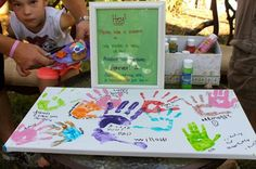 Oh my goodness I love this idea! Artist party ' guest book ' / sign in idea!  Get the kid's handprints on a canvas!